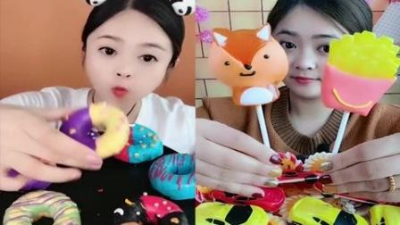 小美女试吃:彩色甜甜圈、薯条棒棒糖,一口下