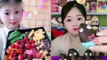 小美女试吃:脆皮巧克力、果蔬脆拼盘,一口超