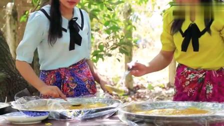 农村美女把新鲜芒果做成芒果干,看看她们是如