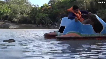 国外搞笑:遥控假鳄鱼湖中游,水中游人看到逃