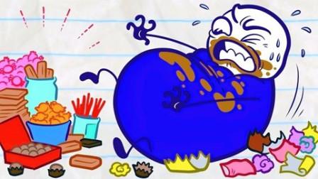 铅笔人搞笑动画:铅笔人非常喜欢吃糖果!五颜六色真好看!