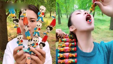 美女直播吃:彩色零食、动画片人物糖,看着就
