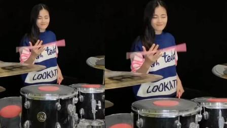 美女架子鼓演奏《射雕英雄传》主题曲,这旋律