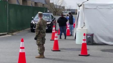 美国疫情街拍,士兵们戴着口罩,排查来往人员