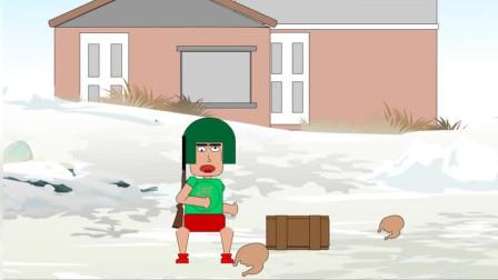 吃鸡搞笑动画:雪地烤鸡肉很自在,陌生人偷烤