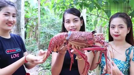 农村美女买了一只5斤重的大龙虾,搭配一道酸汤