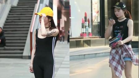 街拍美女:时尚可爱霸气的一位美女三心二亿撩