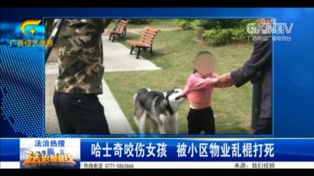 小女孩遭哈士奇咬伤 小区物业乱棍将狗打死 围观群众拍下全程