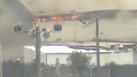 日本冲绳美军基地发生火灾 现场浓烟冲天