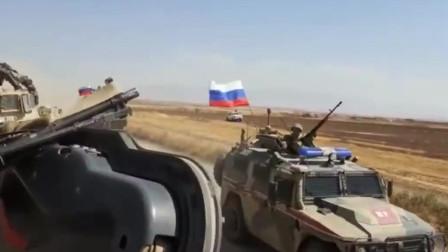 实拍叙利亚东北部 一辆美国军车与俄罗斯军车相撞 双方发生冲突