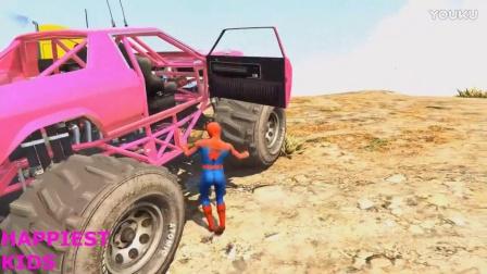 蜘蛛侠开各种各样的彩色汽车。儿童音乐,儿童动漫。