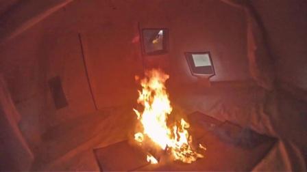 球篷救灾帐篷的防火测试 Fire resistance test on Geodesic Tents