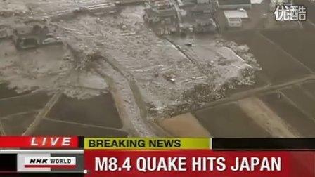 德国国家电视一台直升飞机直播日本海啸,海水涌向城市 ,现代版的《2012》
