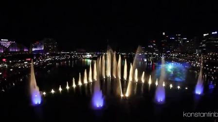 澳大利亚活力悉尼灯光音乐节的水秀表演2013年