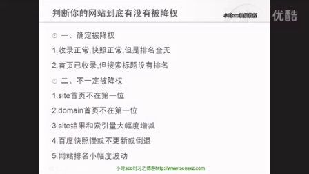 小时seo视频教程第九课:判断你的网站到底有没有被降权