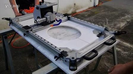 GPW-M2 快速吸附固定在欲開孔石材台面上