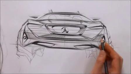 韩国设计师教你画奔驰汽车手绘马克笔效果图