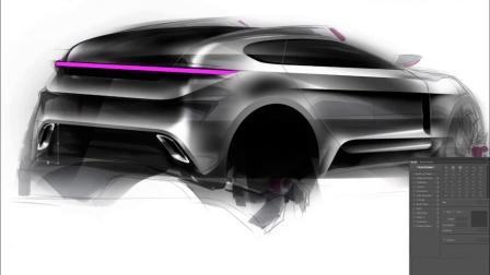 如何用手绘板Photoshop汽车手绘效果图教程