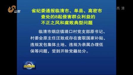 视频: 省纪委通报临清市 单县 高密市查处的8起侵害群众利益的不正之风和腐败典型问题 160728 山东新闻联播