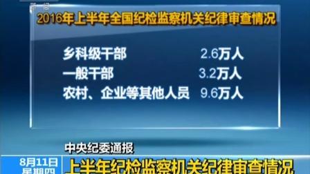 中央纪委通报 上半年纪检监察机关纪律审查情况 160811