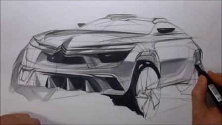 雪铁龙SUV汽车设计手绘马克笔上色教程