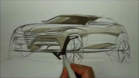 阿尔法罗密欧SUV汽车设计手绘马克笔上色教程