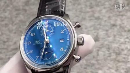 视频:外观展示,万国葡萄牙CHRONOGRAPH CLASSIC计时腕表,白壳,蓝面黑皮