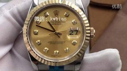 视频:外观展示,长荣厂劳力士包金表,36尺寸五珠表带,瑞士2836机芯