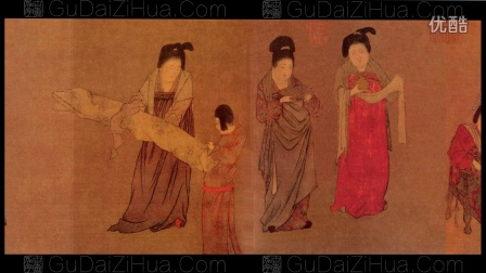 古代字画-长卷五牛图-仕女图-游春图