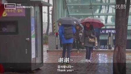 社会实验:在韩国向求助路人分享雨伞