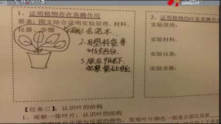 初中科学《4.5植物的叶与蒸腾作用》教学视频,朱思荣,2016年杭州市名师公开课