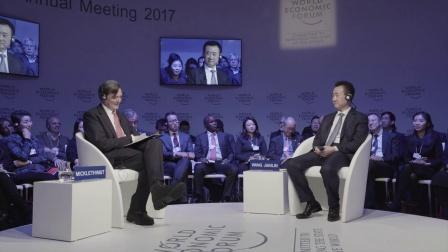 """王健林董事长出席达沃斯""""一对一对话""""全球媒体采访会"""