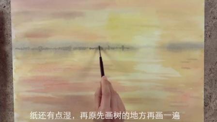水景日落水彩画,仿佛是最靠近天堂的一次