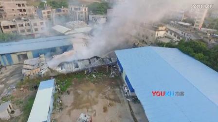 【拍客】广西一废弃仓库爆炸起火 航拍事故现场