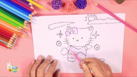 儿童简笔画教程hello kitty凯蒂猫亲子绘画少儿绘画动物篇【小卡手工课】