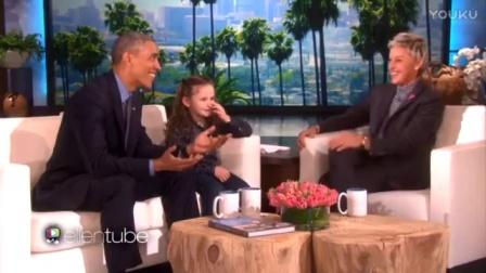 奥巴马艾伦秀 被漂亮小女孩抢镜 太可爱了