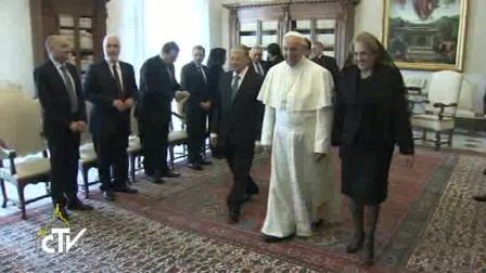 教宗方济各接见黎巴嫩总统米歇尔‧奥恩