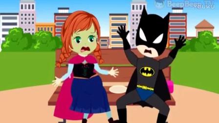 蜘蛛侠的宝宝和艾莎公主的宝宝玩游戏 搞笑蜘蛛侠