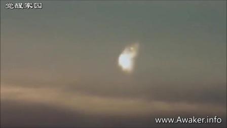 夕阳之上的UFO发光物2017年3月24日的图片