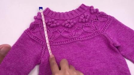 第158集 向日葵立体花领口的编织以及分袖的编织方法(下)