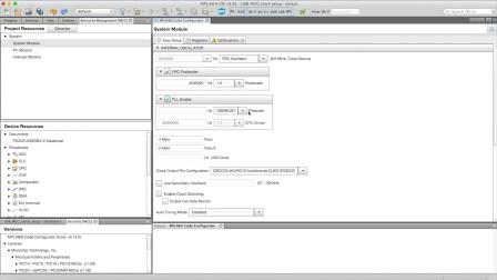 USB Clock Setup Using MPLAB® Code Configurator