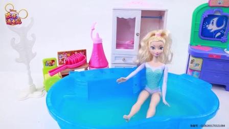 芭比公主玩番茄酱泡泡浴 卡通玩具趣味扮家家小游戏 玩具试玩 熊出没 奥特曼 小猪佩奇