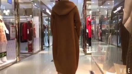秋冬新款高端欧美双面呢羊绒大衣女连帽宽松中长双面绒羊毛呢外套8742