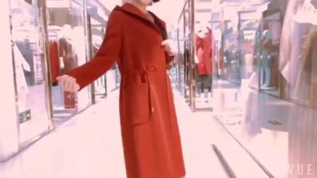 高端欧美秋冬新款双面呢羊绒大衣女连帽系带中长双面绒羊毛呢外套8746