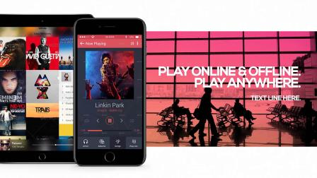 AE模板-iPhone手机音乐APP宣传片头 Music App Promo