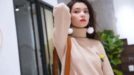 慵懒风韩版高领毛衣,街拍宠儿