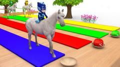 睡衣小英雄和汪汪队小狗骑上马,吃了南瓜变颜