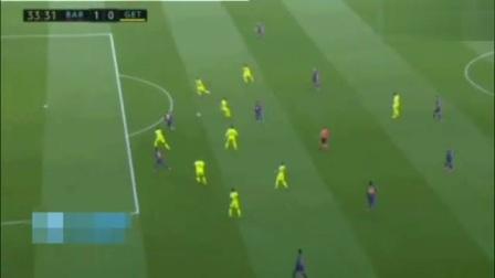 西甲梅西助攻格里兹曼进球,巴萨2:1险胜赫塔菲