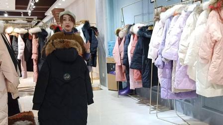 品牌女装折扣当季新款毛领羽绒服直播货源