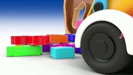 儿童动画 彩色英文字母组成大象图案 认识英文字母
